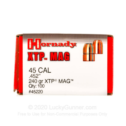 Large image of Premium 45 Caliber Bullets For Sale - 240 Grain XTP JHP Bullets in Stock by Hornady - 100 Bullets