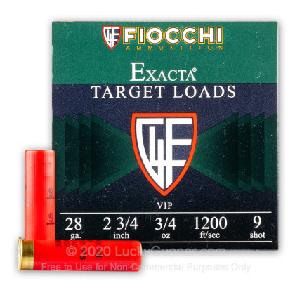 Large image of Bulk 28 Ga Fiocchi #9 Target Ammo For Sale - Fiocchi Premium Exacta 28 Ga Shells - 250 Rounds