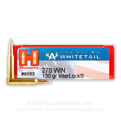 Large image of Cheap 270 Win Ammo In Stock  - 130 gr Hornady American Whitetail SP Interlock Ammunition For Sale Online - 20 Rounds