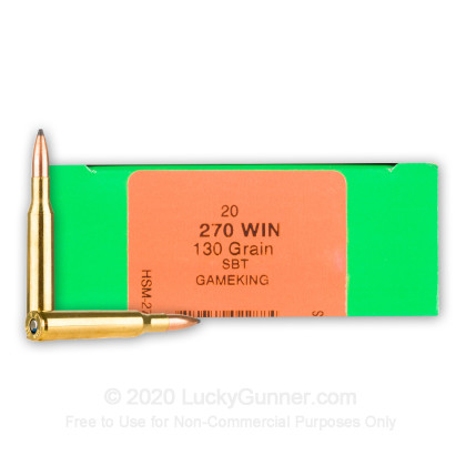 Large image of Premium 270 Ammo For Sale - 130 Grain Spitzer BT GameKing Ammunition in Stock by HSM - 20 Rounds
