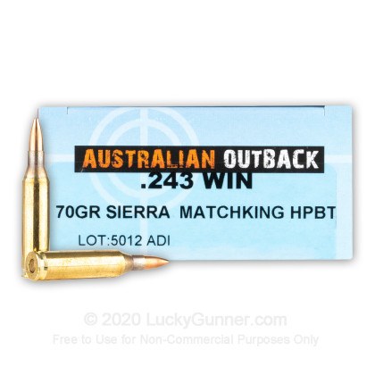 Large image of Premium 243 Ammo For Sale - 70 Grain HPBT MatchKing Ammunition in Stock by Australian Outback - 20 Rounds