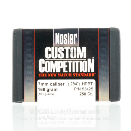 """Large image of Premium 7mm (.284"""") Bullets For Sale - 168 Grain HPBT Bullets in Stock by Nosler Custom Competition - 250 Projectiles"""