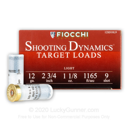 """Large image of Cheap 12 Gauge Ammo For Sale - 2-3/4"""" 1-1/8oz. #9 Shot Ammunition in Stock by Fiocchi - 25 Rounds"""