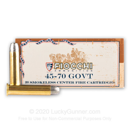 Large image of Cheap 45-70 Government Ammo For Sale - 405 Grain LRN FP Ammunition in Stock by Fiocchi - 20 Rounds