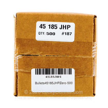 """Large image of Premium 45 ACP (.451"""") Bullets for Sale - 185 Grain JHP Bullets in Stock by Zero Bullets - 500 Projectiles"""
