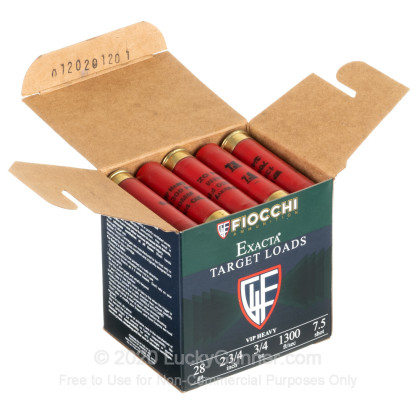 """Large image of Cheap 28 Gauge Ammo For Sale - 2-3/4"""" 3/4oz. #7.5 Shot Ammunition in Stock by Fiocchi - 25 Rounds"""