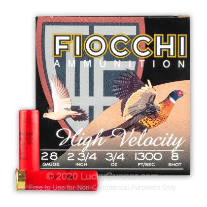 "Large image of Cheap 28 Gauge Ammo For Sale - 2-3/4"" 3/4oz. #8 Shot Ammunition in Stock by Fiocchi - 25 Rounds"