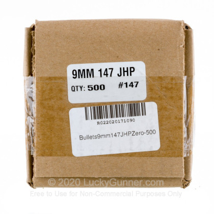 """Large image of Premium 9mm (.355"""") Bullets for Sale - 147 Grain JHP Bullets in Stock by Zero Bullets - 500 Projectiles"""