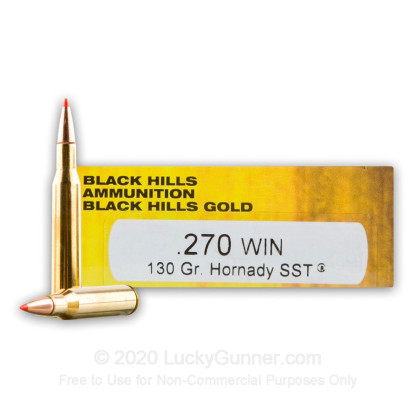 Large image of Premium270 Ammo For Sale - 130 Grain Hornady SST Ammunition in Stock by Black Hills - 20 Rounds