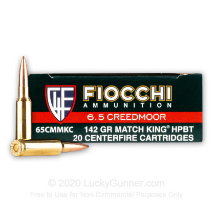Large image of Premium 6.5 Creedmoor Ammo For Sale - 142 Grain MatchKing HPBT Ammunition in Stock by Fiocchi - 20 Rounds