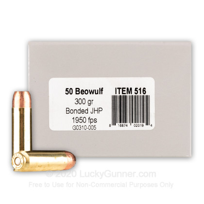Large image of Premium 50 Beowulf Ammo For Sale - 300 Grain Bonded JHP Ammunition in Stock by Underwood - 20 Rounds