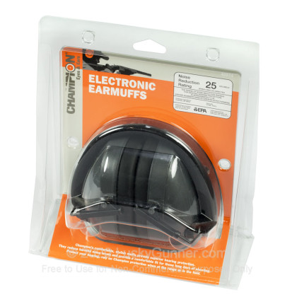 Large image of Champion Black Electronic Earmuffs For Sale - 25 NRR - Champion Hearing Protection in Stock