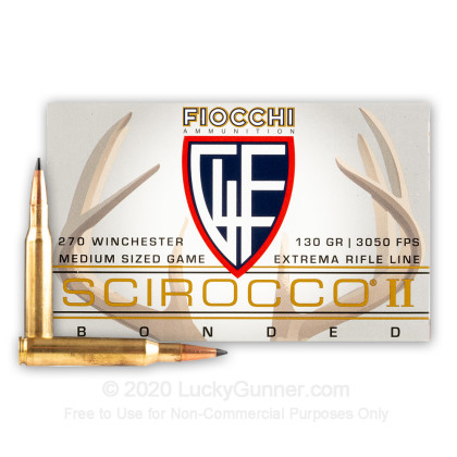 Large image of Premium 270 Win Ammo For Sale - 130 Grain Scirocco II PTS Ammunition in Stock by Fiocchi Extrema - 20 Rounds