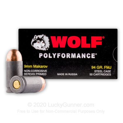 Large image of Bulk 9mm Makarov Ammo For Sale - 94 gr FMJ - Wolf WPA Polyformance 9mm Makarov Ammunition In Stock - 1000 Rounds