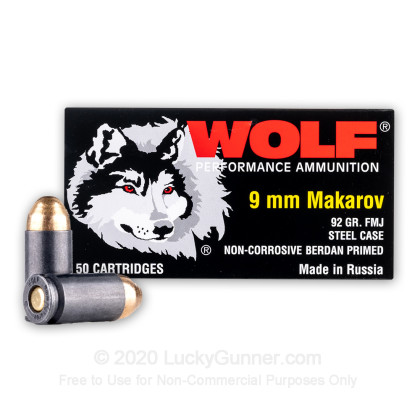Large image of Cheap 9mm Makarov Ammo For Sale - 92 Grain FMJ Ammunition in Stock by Wolf - 50 Rounds
