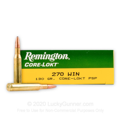 Large image of Cheap 270 Win Ammo For Sale - 130 gr PSP - Remington Core-Lokt Ammo Online - 20 Rounds