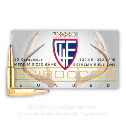 Large image of Premium 6.5 Creedmoor Ammo For Sale - 130 Grain Scirocco II Bonded Ammunition in Stock by Fiocchi - 20 Rounds