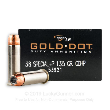 38 Special +P - 135 gr JHP - Speer Gold Dot - 50 Rounds