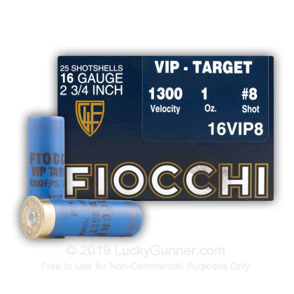 Large image of Cheap 16 Ga Fiocchi #8 Target Ammo For Sale - Fiocchi Premium Exacta 16 Ga Shells - 25 Rounds