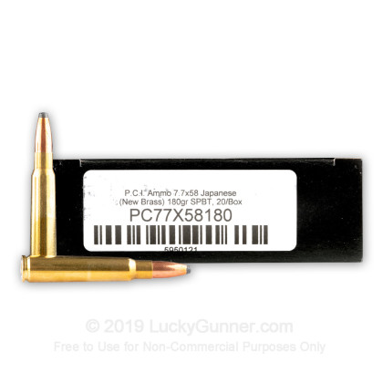 Large image of Cheap 7.7 Japanese Ammo For Sale - 180 gr Soft Point Boat Tail Ammunition in Stock by Precision Cartridge - 20 Rounds