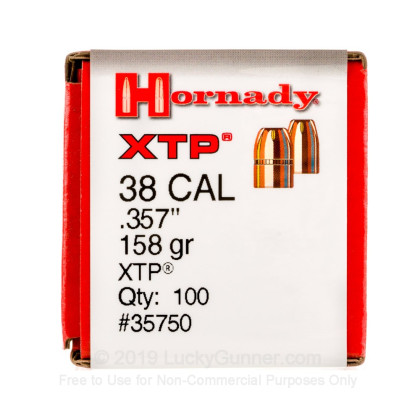 Large image of Hornady 38/357 Bullets For Sale - 38/357 158gr JHP XTP bullets by Hornady