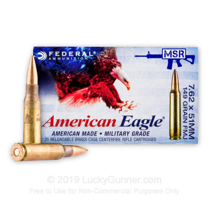 7 62x51mm - 149 Grain FMJ - Federal XM80CL - 500 Rounds