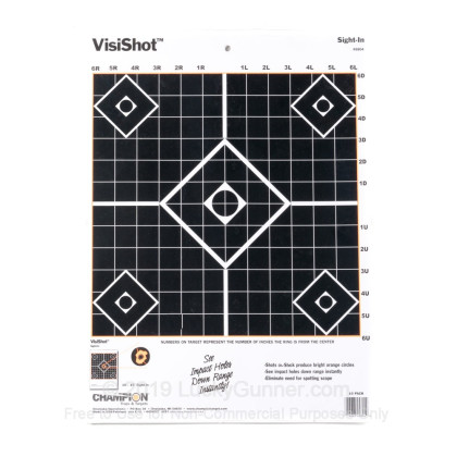 Large image of Cheap Targets For Sale - VisiShot Sight-In Targets (45804) in Stock by Champion - 10 Count Pack