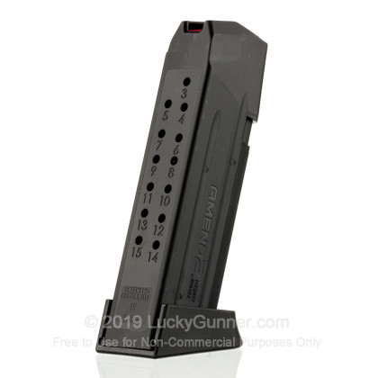 Large image of Cheap 9mm Luger Magazine For Sale - Black Glock 19 Magazine in Stock by Amend2 - 15 Round Magazine