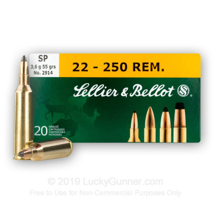 Image 1 of Sellier & Bellot .22-250 Remington Ammo