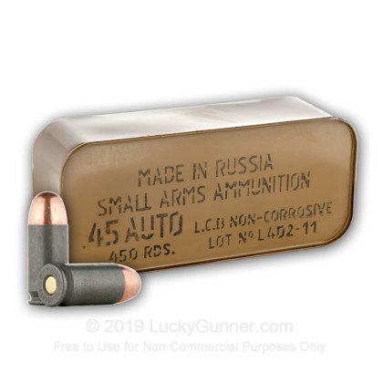 45 ACP - 230 gr FMJ - Tula Spam Can - 450 Rounds