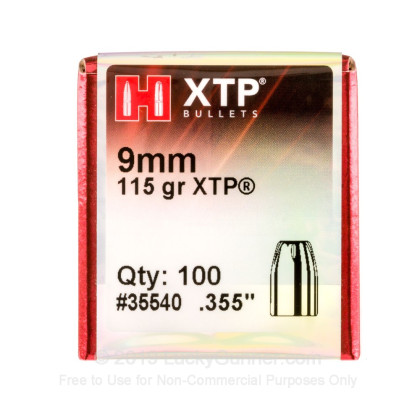 Large image of Hornady 9mm Bullets For Sale - 9mm 115gr JHP XTP bullets by Hornady