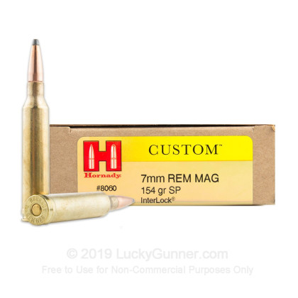 7mm Rem Mag - 154 Grain InterLock SP - Hornady Custom - 20 Rounds
