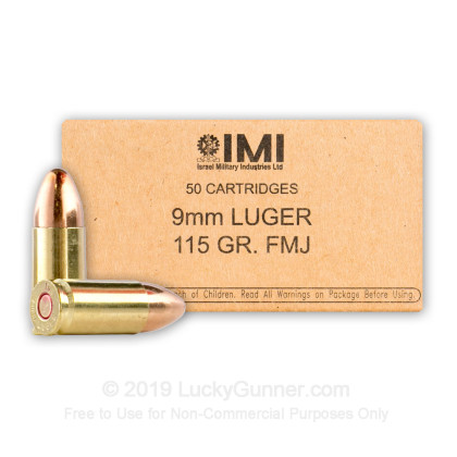 9mm Luger - 115 Grain Full Metal Jacket - IMI - 1000 Rounds