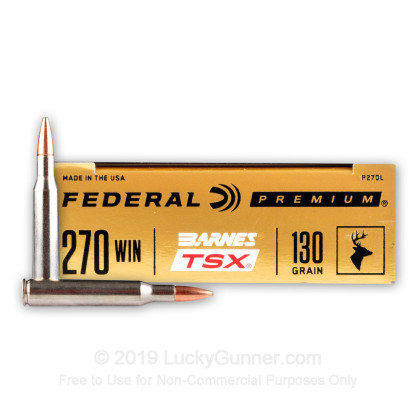 Large image of Premium 270 Ammo For Sale - 130 Grain Barnes TSX Ammunition in Stock by Federal - 20 Rounds
