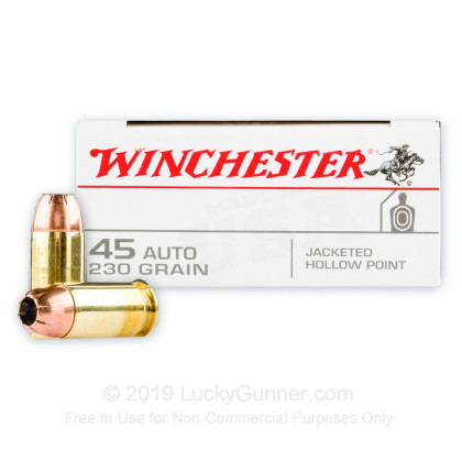 45 ACP - 230 Grain JHP - Winchester USA - 500 Rounds