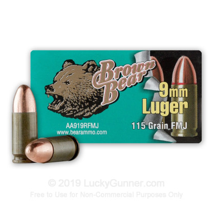 9mm - 115 gr FMJ - Brown Bear - 500 Rounds
