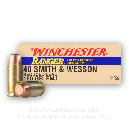 40 S&W - 180 Grain FMJ Reduced Lead - Winchester Ranger - 50 Rounds