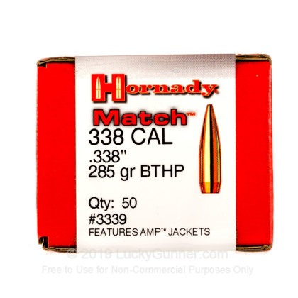 Large image of Cheap 338 Lapua Magnum Bullets For Sale - 285 Grain HPBT Match Bullets in Stock by Hornady - 50