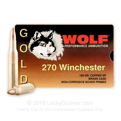 270 - 150 Grain SP - Wolf Gold - 20 Rounds