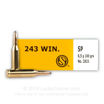 Large image of 243 Ammo For Sale - 100 Grain SP - Sellier & Bellot Ammo Online