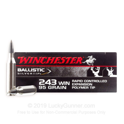 Large image of Premium 243 Ammo For Sale - 95 Grain Polymer Tip Ammunition in Stock by Winchester Ballistic SilverTip - 20 Rounds