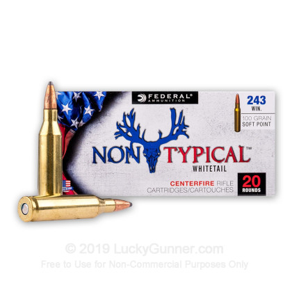 Large image of Premium 243 Ammo For Sale - 100 Grain SP Ammunition in Stock by Federal Non-Typical Whitetail - 20 Rounds