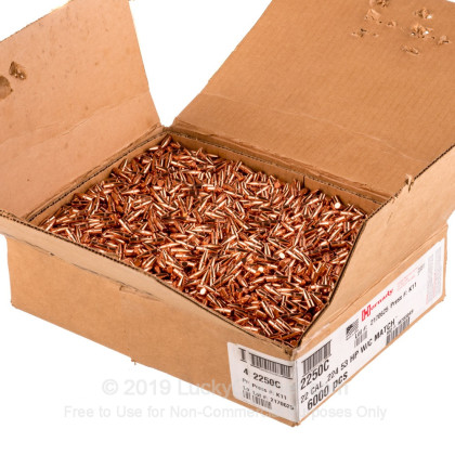 Large image of Bulk 223 Rem Bullets (.224) For Sale - 53 Grain HP W/Cannelure Bullets in Stock by Hornady - 1000