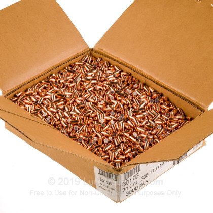 Large image of Bulk 30 Carbine Bullets For Sale - 110 Grain FMJ Bullets in Stock by Hornady - 3000 Projectiles