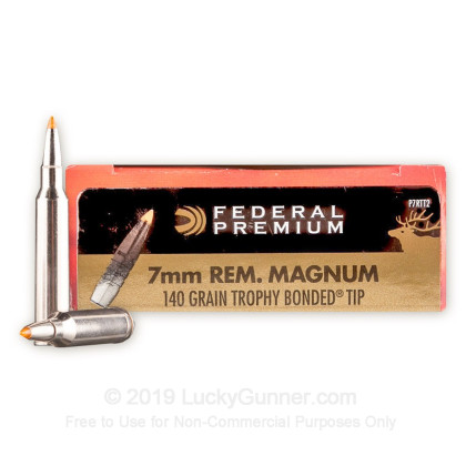 7mm Rem Mag - 140 Grain Trophy Bonded Tip - Federal Premium Vital-Shok - 20  Rounds