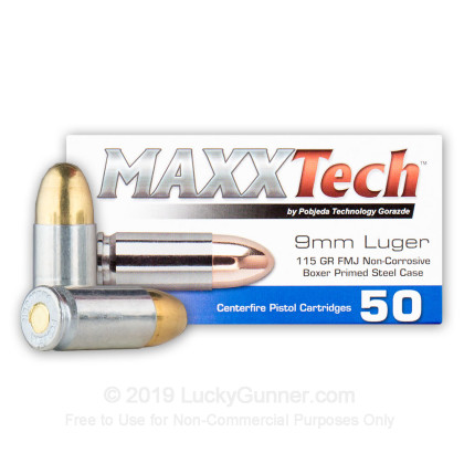 Image 1 of MaxxTech 9mm Luger (9x19) Ammo