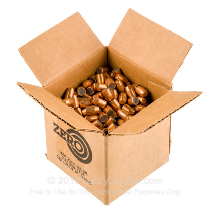 """Large image of Premium 40 S&W (.400"""") Bullets for Sale - 180 Grain FMJ-TC Bullets in Stock by Zero Bullets - 500 Projectiles"""