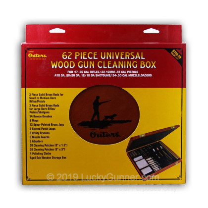 Large image of Outers Universal 62 Piece Wooden Cleaning Kit For Sale -  Universal Calibers - Outers Cleaning Kits For Sale