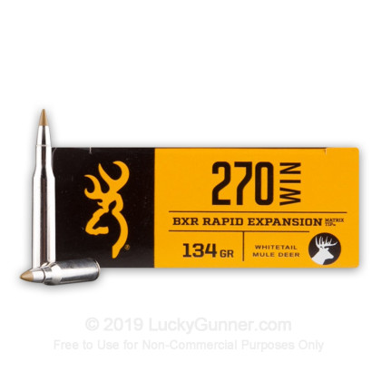 Large image of Premium 270 Ammo For Sale - 134 Grain Polymer Tipped Ammunition in Stock by Browning BXR - 20 Rounds