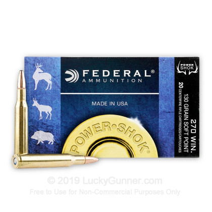 Large image of Bulk 270 Ammo For Sale - 130 gr SP - Federal Power-Shok Ammo Online - 200 Rounds